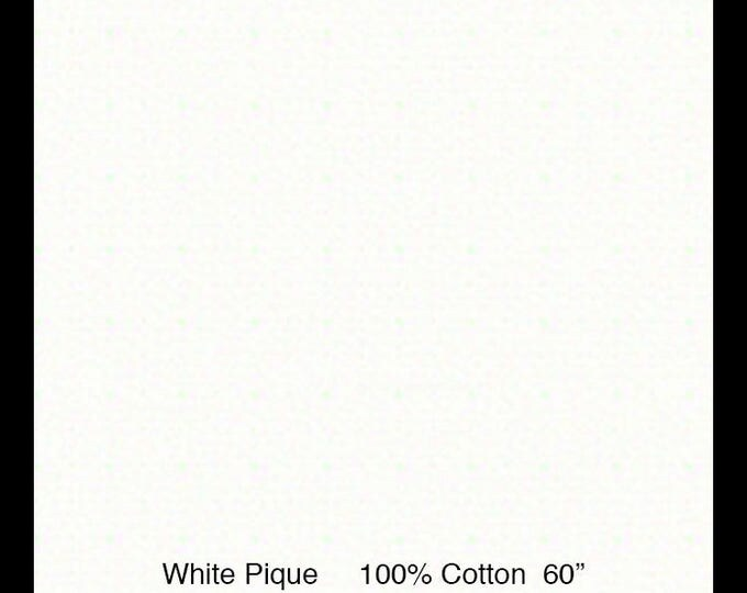 """Pique / White Pique / 100% Cotton /  by Fabric Finders 60"""" wide"""