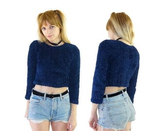 ON SALE Fuzzy 90s Sparkle Crop Top, 90s Furry Top, Kawaii, 90s Kid, Women's Size Small