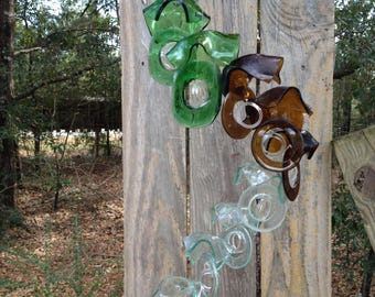 clear, green, brown, sea foam, GLASS WINDCHIMES-RECYCLED bottles, garden decor, wind chime, wind chimes, soothing music