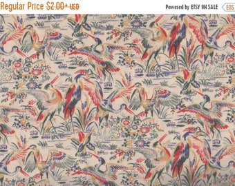 ON SALE Floral Fabric, Birds, Ivory Fabric, Bird Fabric, Crane Fabric, Oriental Fabric, Timeless Treasures, Lotus ECRU, 01956