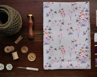 Choose One Yard of Meadow Wildflower Fabric Collection/ Purple Floral Watercolour Cotton | FREE Shipping from USA | Thistle and Fox Fabrics