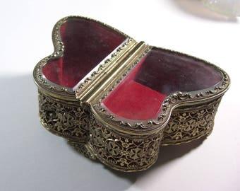 Butterfly Shape Beveled Glass Jewelry Casket Plays Love Story Music Box / HiMark Filigree Ormolu Trinket Dresser Box