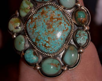 "3 1/4"" Tall Gorgeous Huge Old Vintage Navajo Heavy Sterling Number Eight Carico Lake Mixed Turquoise Bracelet 157 Grams"