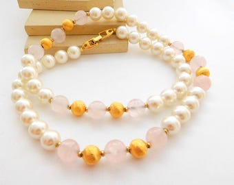 Vintage Napier White Glass Pearl Pink Rose Quartz Gold Tone Bead Necklace N37