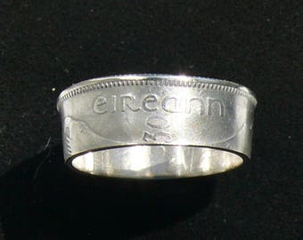 Rare Silver Coin Ring 1930 Ireland 1 Scilling, Ring Size 7 and Double Sided