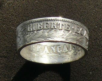 Ladies Silver Coin Ring 1894 France 1 Franc, Featuring Liberty, Equality and Fraternity