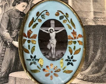 Pretty Little Antique French Religious Plaque with Jesus Crucified
