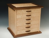 Handcrafted Jewelry Chest of Birdseye Maple and Walnut