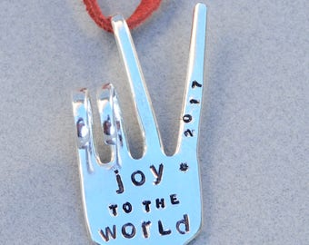 JOY to the WORLD hand stamped PEACE Sign ornament with Stars made from Fork hangs from Red Leather