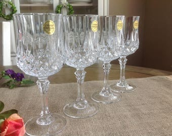 4 Cristal D'Arques-Durand Longchamp Crystal Wine Glasses Made in France