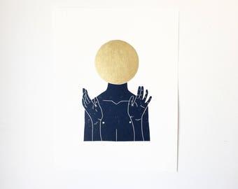 Not What You Think w/ Gold  //  Lino Print - Block Print - Modern Art - Linocut - Printmaking