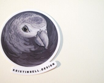 Gray Parrot Vinyl Die Cut Sticker