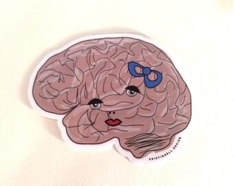 Femme Brain with Bow Die Cut Vinyl Sticker
