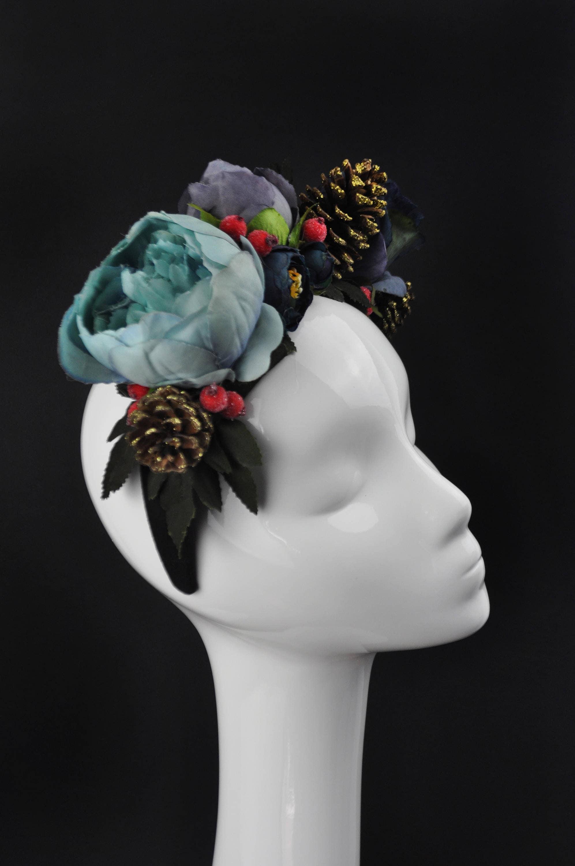 Blue winter flower crown headpiece with berries and pine cones blue winter flower crown headpiece with berries and pine cones christmas flower crown bridal izmirmasajfo