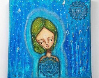 Throat Chakra Girl Art Work. Mixed media artwork. Original Art for Sale, Original Art Work, Fine Art, Original Painting, Gift Women