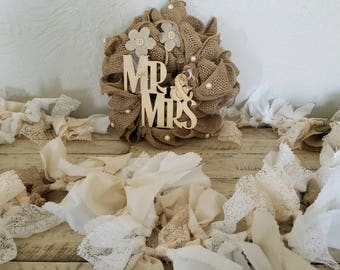 Kissing Ball, Kissing Ball Centerpieces, Kissing Ball Wedding, Mr and Mrs Burlap, Mr and Mrs Sign, Newlywed Gift, Newlywed Decor, Pomander