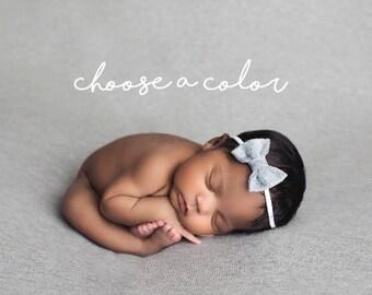 Baby Bows, Baby Headbands, Newborn Headband, Hair Bow, Baby Girl Headband, Felt Headband, Bow Headband, Newborn Girl, Baby Bows, Grey Bows