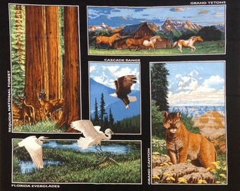 National forest parks fabric panel, sequoia forest, Florida Everglades, Grand Canyon, Cascade Range, Grand Tetons, outdoor wildlife panels