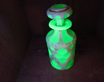Antique Perfume Bohemian or Boston Sandwich Glass Cut to Green Overlay Bottle
