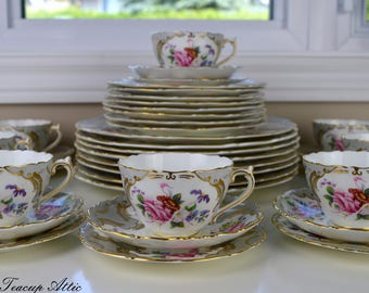 Set of 8 Coalport Grey Embossed Rosemary Vintage Complete Place Settings, Wedding Gift, Vintage Dinnerware, Replacement China, ca. 1926