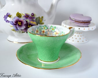 Aynsley Green Corset Teacup and Saucer With Lattice Design And Yellow Flowers, English Bone China Tea cup Set, Tea Party, ca. 1934-1939