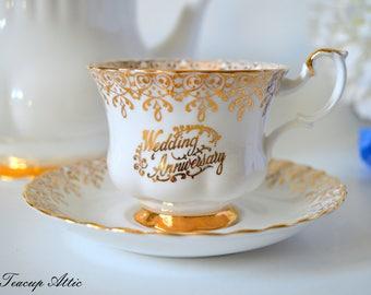 Royal Albert Wedding Anniversary Teacup and Saucer, English Bone China Tea Cup,ca 1950-1970