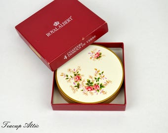 Set of 4 Royal Albert Lavender Rose Cork Back Vintage Round  Coasters in Original Box