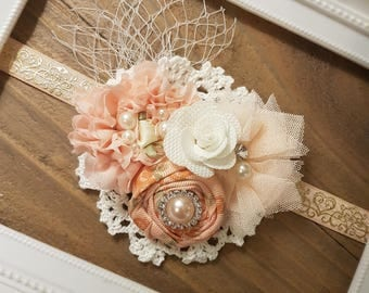 Peach and Pearl Baby Girl Headband, Baby Headbands, Girl Headband, Baby Shower Gift, Gift for Her, Peach and White headband, Baby Girl