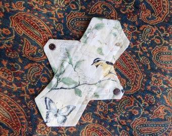 """Flora and Fauna 8"""" Cloth Panty Liner Light Pad. Mama cloth. Reusable."""