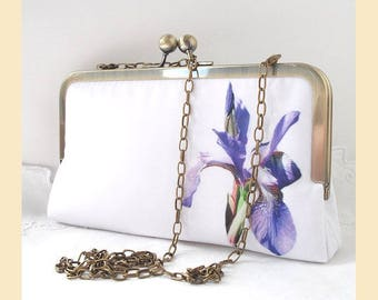 Wedding clutch bag, shoulder chain, lilac, purple, white floral clutch, handmade bridal purse, shoulder bag, iris flower