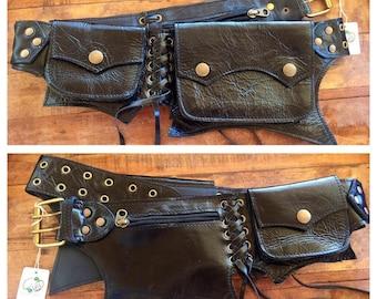 Black leather cypress pocket belt/ utility belt/ fanny pack/hip belt