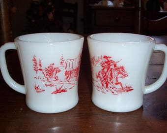 Vintage Fire King Davy Crockett Red Print on Ivory Mug with Horses..Covered Wagons...Set of 2...1960's Mid Century Fire King Oven Ware..