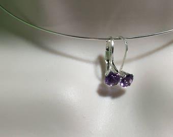 Amethyst Earrings Minimalistic Purple Sterling Silver Lever back earring g2-7
