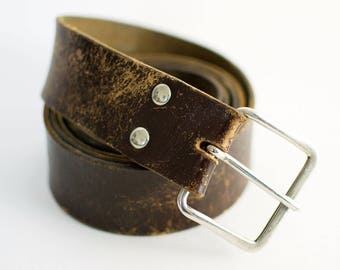 Vintage Women's Distressed Brown Leather Belt XXLarge 38 40 42 44 46 48 50
