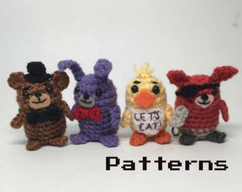 Five of Freddy's Nights at a Pizza Place Crochet doll Amigurumi Patterns