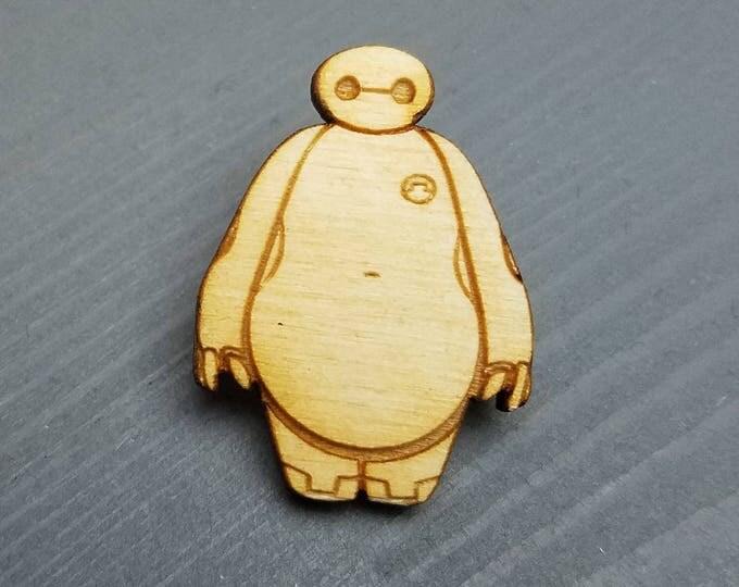 Big Hero 6 Baymax Pin | Laser Cut Jewelry | Wood Accessories | Wood Pin | Handmade |