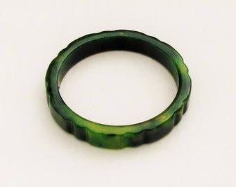 Vintage bakelite bangle in marbled green and yellow, 1930's bakelite bracelet