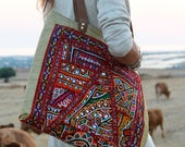 Tote bag. Indian tapestry hand embroidered patchwork shoulder side bag. Boho travel Book bag, gift for traveller, March 8 womens day present