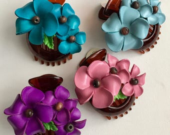 Medium Leather Flower Hair Comb Barrette Clip little bond holder