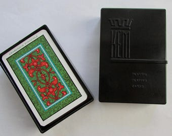 1935 KEM Pinochle Arabesque Playing Cards in Plastic Case