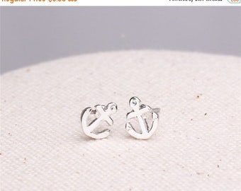 ON SALE Make a wish silver plated tiny anchor earrings