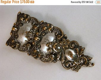 ETSYCIJ Antique Victorian Dress Clip / Ornate Victorian Relief Brooch / Tin Floral Pin / Large Brooch