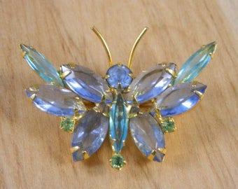 Vintage Blue Rhinestone Butterfly Brooch / Butterfly Pin / Blue, Aqua, Green, Cornflower Rhinestone and Goldtone Butterfly Brooch