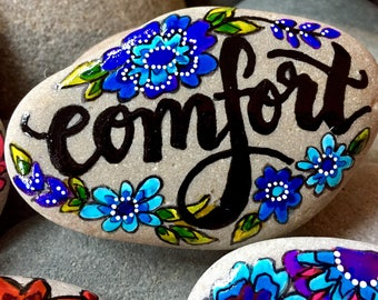 comfort/ painted rocks/ painted stones/ words on rocks / words on stones/ get well gifts / hand painted rocks / rock art / word rocks /