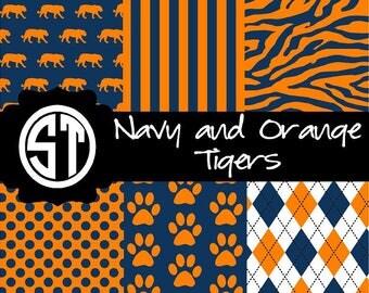 Navy and Orange Tiger Spirit Patterns  (Indoor, Outdoor,  Glitter vinyl , HTV iron on, Glitter HTV) Lamination available Mask not included