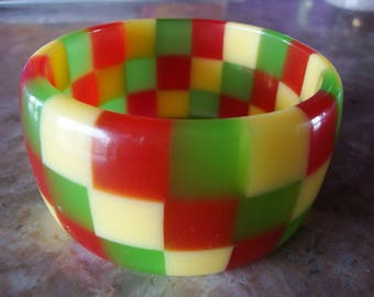 BIG BOLD CHECKERBOARD Square Block Laminated Translucent Hand Made Red Yellow And Green Translucent Vintage Lucite Bangle Bracelet