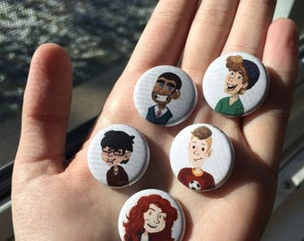 """Radio Silence 1"""" buttons of webcomic characters"""