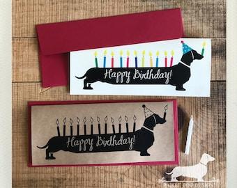 Happy Birthday Doxie. Note Card -- (Personalized, Birthday Card, Sausage Dog, Dachshund, Vintage-Style, Wiener Dog, Weiner Dog, Long Dog)