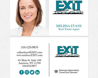 EXIT real estate deluxe business cards - thick, color both sides - FREE UPS ground shipping