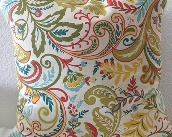 Pillow Cover, multicolored floral/leafy print, 18x18inch square-Pandino in Cameo by Mill Creek